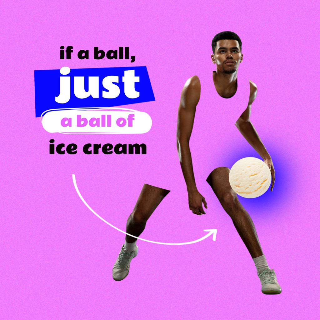 Athlete holding Ice Cream Ball Instagram Modelo de Design