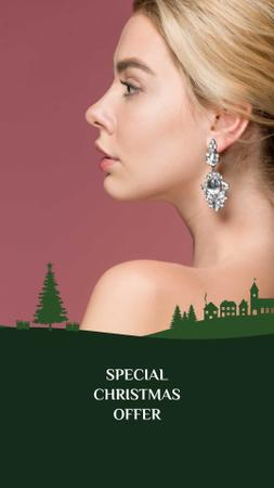 Christmas Offer Woman in Earrings with Diamonds Instagram Story Design Template