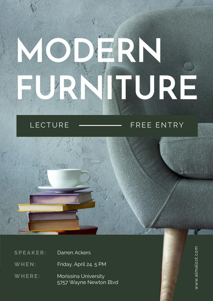 Modern Furniture Offer with stack of Books and Coffee —デザインを作成する