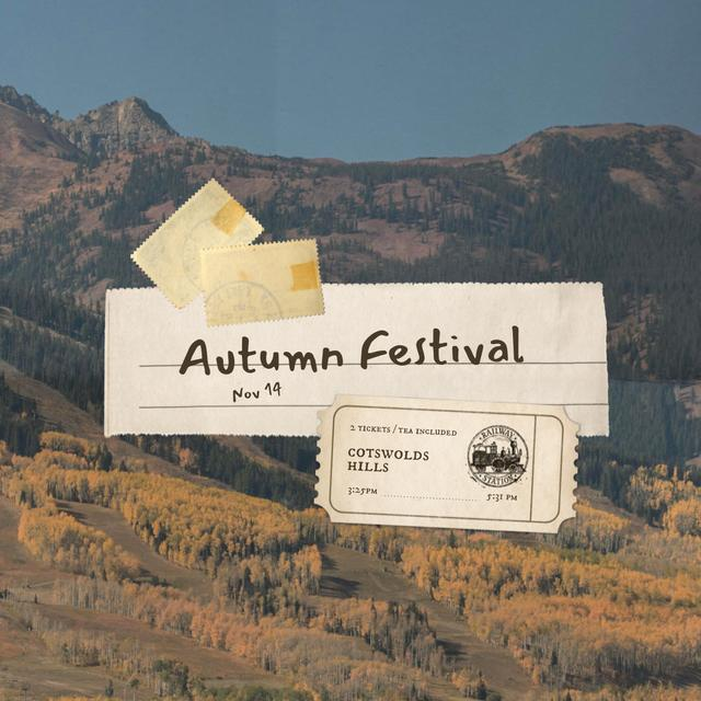 Autumn Festival Announcement with Scenic Mountains Instagram Πρότυπο σχεδίασης