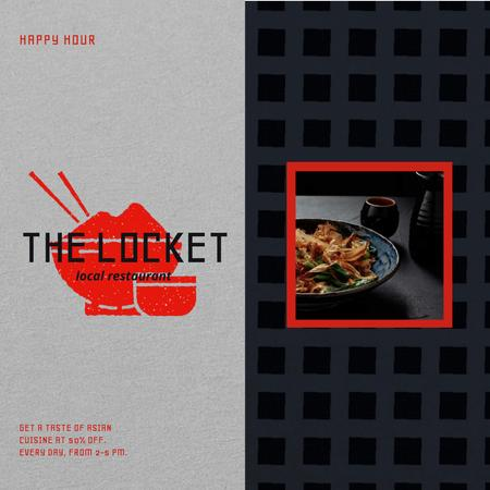 Asian Cuisine Dish with Noodles Animated Post Design Template
