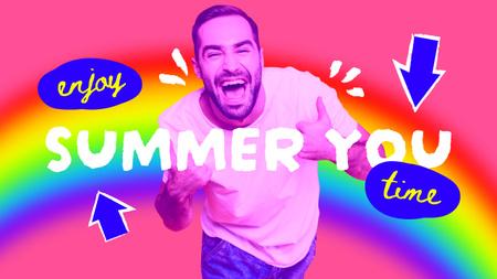 Plantilla de diseño de Summer Inspiration with Funny Happy Young Man Youtube Thumbnail