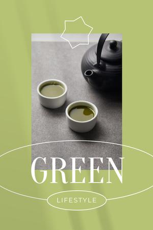 Modèle de visuel Green Lifestyle Concept with Tea in Cups - Pinterest