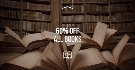 Plantilla de diseño de Books Sale Discount Offer with Bookshop Facebook AD
