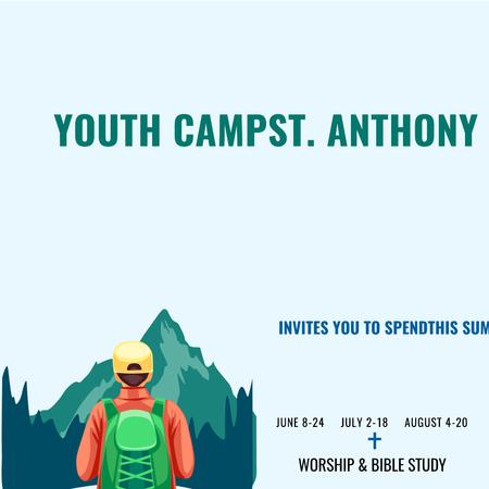 Youth religion camp with Kid in Mountains Instagram Design Template