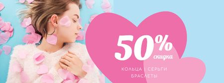 Young Woman in Pink Hearts Facebook cover – шаблон для дизайна