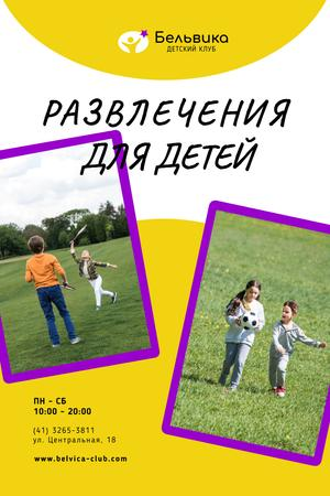 Happy Children Playing Outdoors Pinterest – шаблон для дизайна