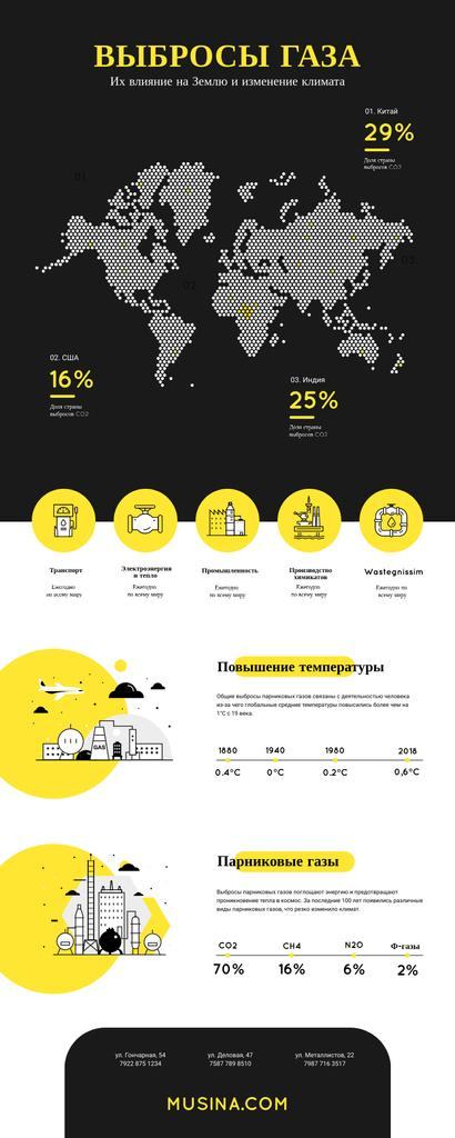 Map Infographics about Gas emission impact on Earth Infographic – шаблон для дизайна