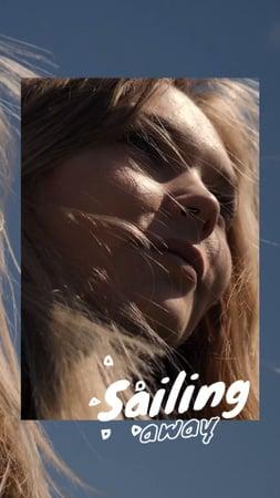 Designvorlage Inspirational Travel Phrase with Young Woman für TikTok Video