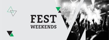 Plantilla de diseño de Festival Weekends Announcement with Crowd on Concert Facebook cover
