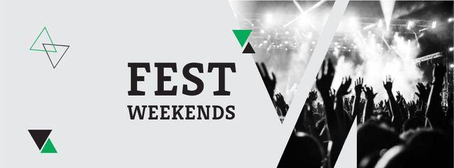 Modèle de visuel Festival Weekends Announcement with Crowd on Concert - Facebook cover