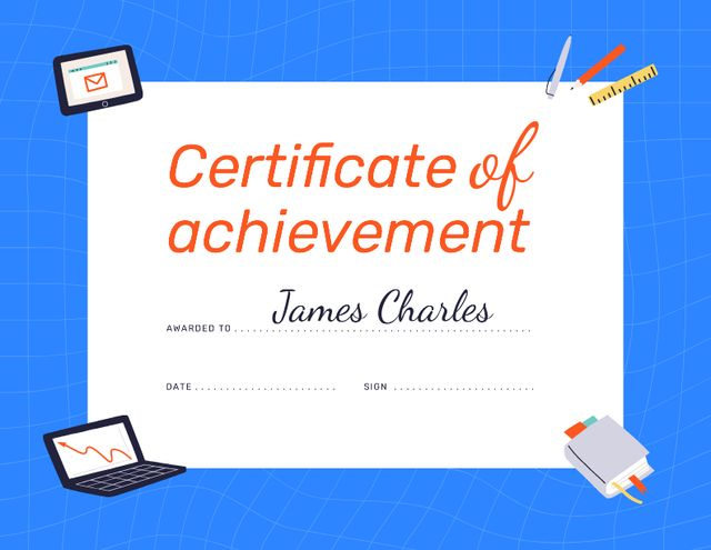 Business Achievement Award with working Gadgets and Stationery Certificate – шаблон для дизайну