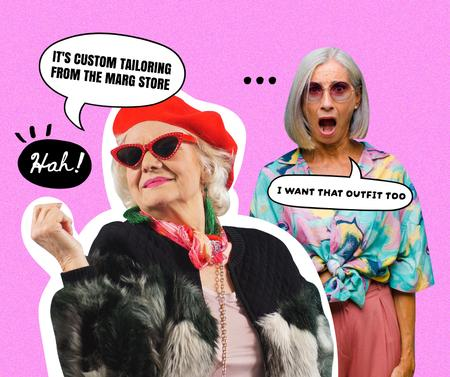 Template di design Old Woman happy about her custom Outfit Facebook