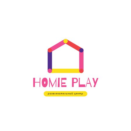 Entertainment Center with Colorful House Silhouette Logo – шаблон для дизайна