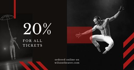 Plantilla de diseño de Tickets Offer Passionate Professional Dancer Facebook AD
