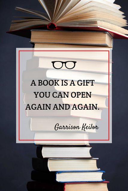 Educational Quote Stacked Books Tumblr Modelo de Design