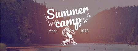 Template di design Summer camp invitation with forest view Facebook cover