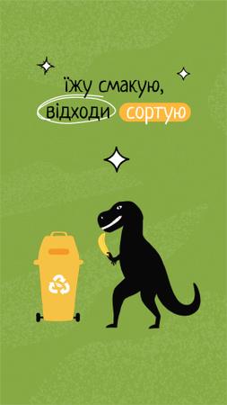 Eco Concept with Cute Dinosaur Sorting Trash Instagram Video Story – шаблон для дизайна