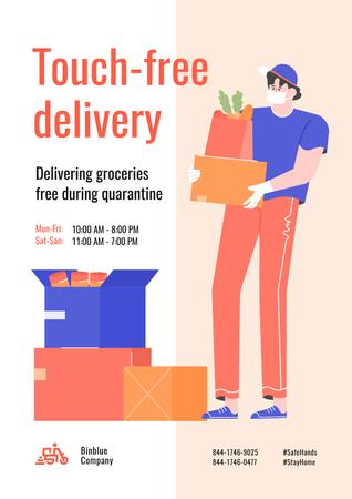 Ontwerpsjabloon van Poster van Touch-free Delivery Services offer with courier