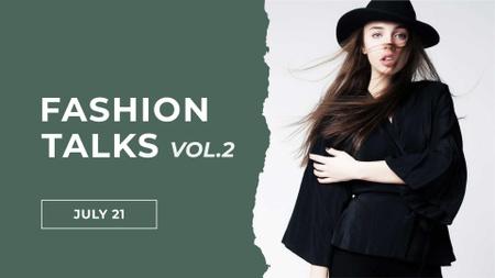 Modèle de visuel Fashion Event Announcement with Girl in Black Outfit - FB event cover