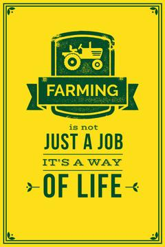 Agricultural yellow Ad with quotation