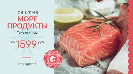 Seafood Offer Raw Salmon Piece Title – шаблон для дизайна