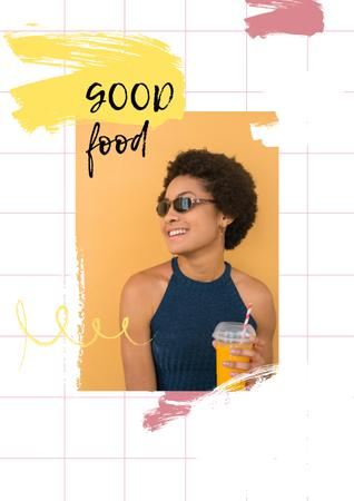Platilla de diseño Smiling Woman with Orange Juice Poster