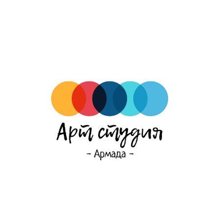 Art Studio Ad with Colorful Circles Animated Logo – шаблон для дизайна