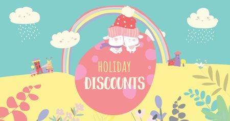 Designvorlage Easter Discounts with Cute Bunnies on Egg für Facebook AD