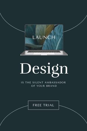 App Launch Announcement with Laptop Screen Pinterest Modelo de Design