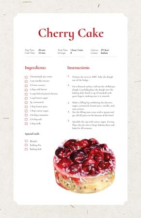 Template di design Sweet Cherry Cake Dessert Recipe Card