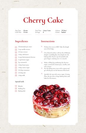 Sweet Cherry Cake Dessert Recipe Card Tasarım Şablonu