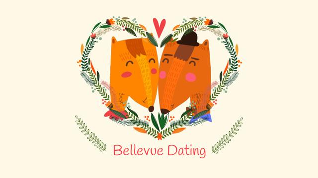 Embracing Foxes in Heart frame for Valentine's Day Full HD video Tasarım Şablonu