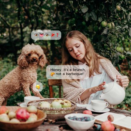 Designvorlage Woman on Cozy Picnic with Cute Dog für Instagram