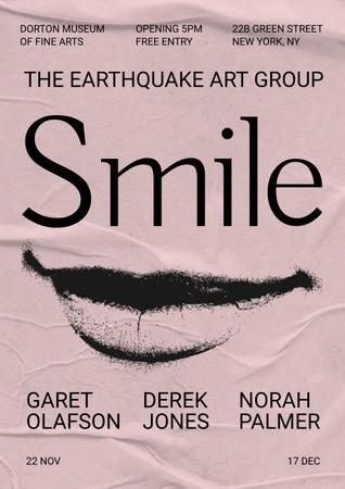 Art Event Announcement with Female Smile Illustration Poster – шаблон для дизайна