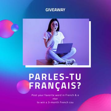 French Course Giveaway Ad with Girl holding laptop