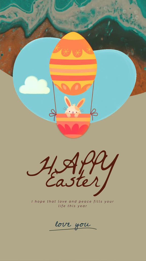 Easter Greeting Bunny on Air Balloon — Створити дизайн