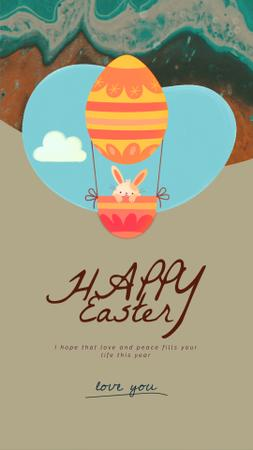 Easter Greeting Bunny on Air Balloon Instagram Video Story – шаблон для дизайну