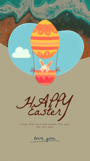 Ontwerpsjabloon van Instagram Video Story van Easter Greeting Bunny on Air Balloon