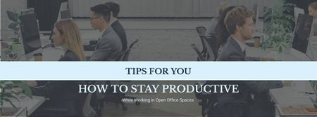 Productivity Tips Colleagues Working in Office Facebook cover Tasarım Şablonu