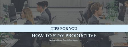 Productivity Tips Colleagues Working in Office Facebook cover Design Template