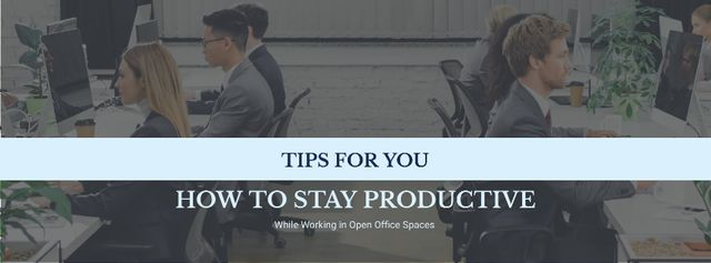 Szablon projektu Productivity Tips Colleagues Working in Office Facebook cover