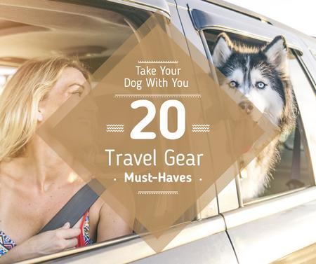 Modèle de visuel Travelling with Pet Woman and Dog in Car - Facebook