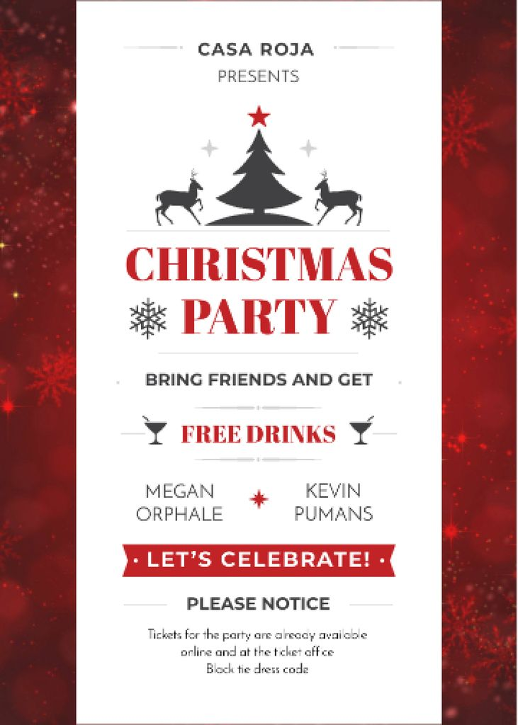 Christmas Party Invitation with Deer and Tree — Crear un diseño