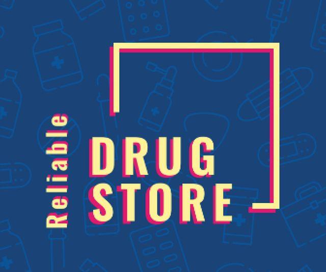Ontwerpsjabloon van Large Rectangle van Drugstore Ad Assorted Pills and Medications