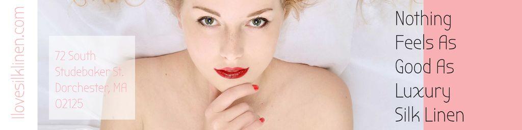 Luxury silk linen Ad with Attractive Woman — Crear un diseño