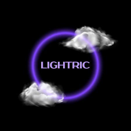 Designvorlage Bright Neon Emblem with Clouds Illustration für Logo