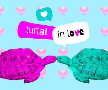 Ontwerpsjabloon van Large Rectangle van Cute Illustration with Kissing Turtles
