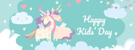 Children's Day Greeting with Cute Unicorns Facebook cover Modelo de Design