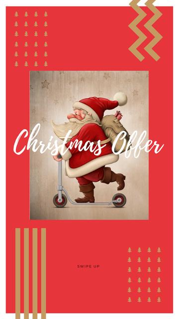 Plantilla de diseño de Christmas Offer with Cute Santa Instagram Story